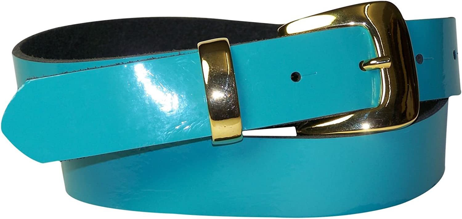 FRONHOFER patent leather belt with a gold buckle and keeper, 1.2' 3cm wide 18221, Size waist size 41.5 IN XL EU 105 cm, color Turquoise Patent