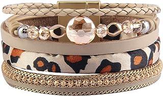Jeilwiy Leather Boho Bracelet Leopard Print Wrap...