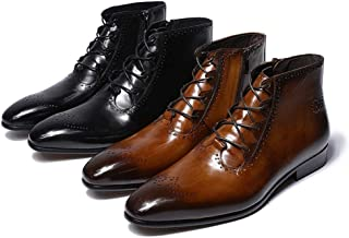 Mens Genuine Leather Boots Chelsea Classic Brogue Lace-Up Zip Ankle Formal Dress Boots for Men