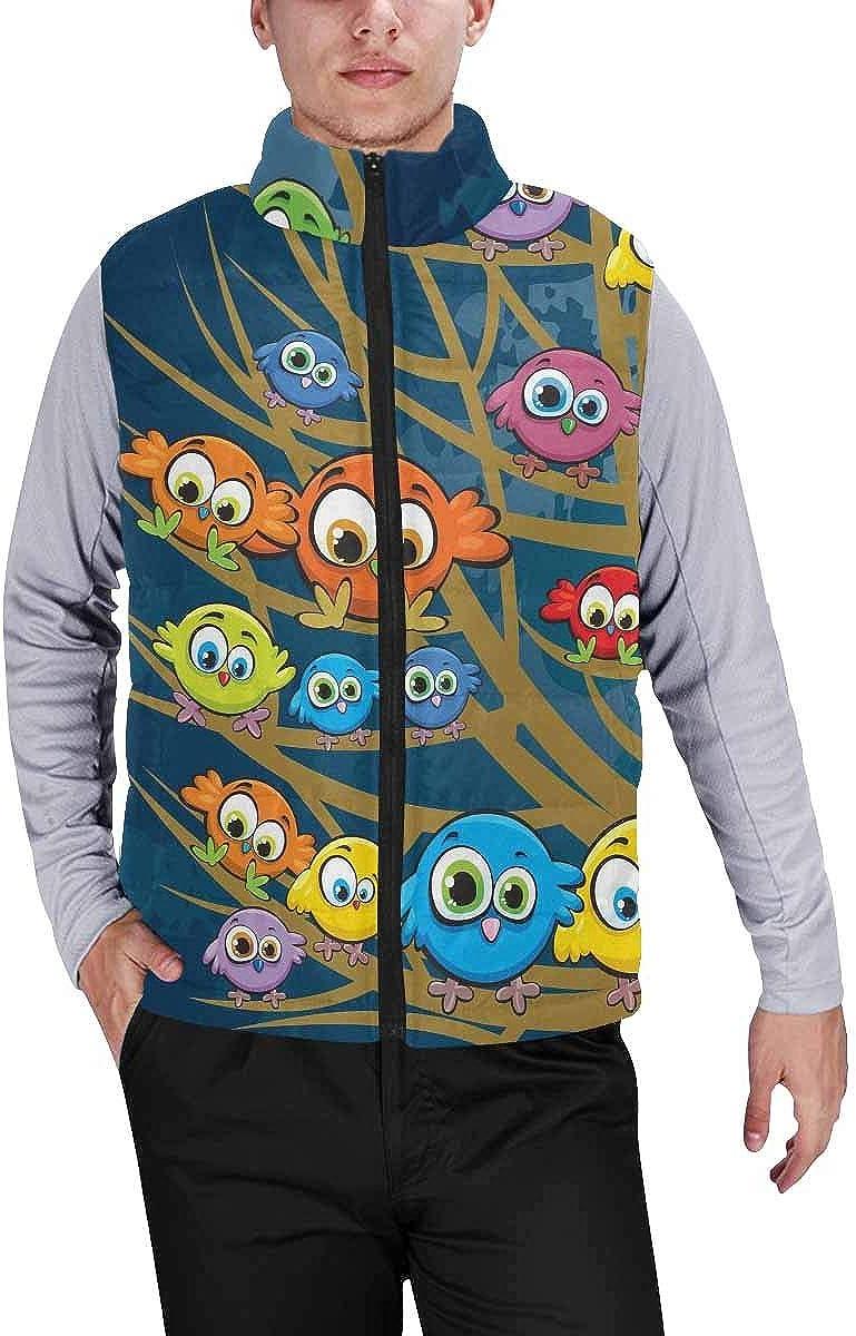 InterestPrint Men's Lightweight Sleeveless Jacket for Travel Hiking Running Christmas Trees, Stars and Snowflakes