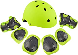 RuiyiF 7Pcs Sports Protective Gear for Kids, Elbow Pads Knee Pads with Wrist Guard and Helmet for Multi Sports: Cycling Skateboard Bicycle Scooter Roller Skate