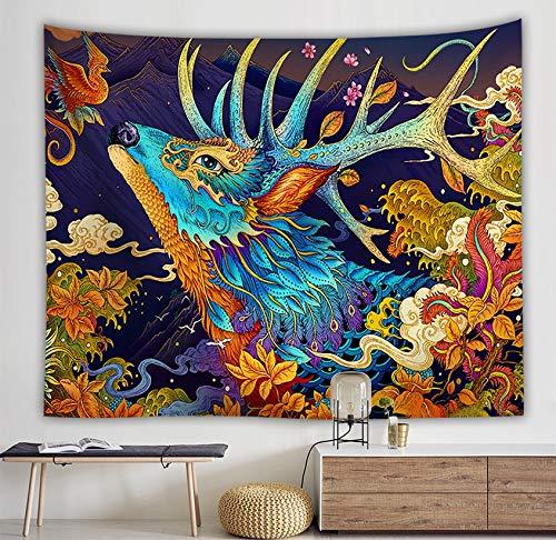 KHKJ Tapiz de Manta Japonesa Ballena Arowana dragón Phoenix tótem Colgante de Pared Cama Bohemia Blaanket Tapiz de decoración del hogar A5 200x150cm