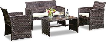 Goplus 4-Piece Rattan Patio Furniture Set