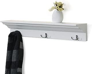 love furniture Coat Rack with Hooks Wall-Mounted Shelf Hanging Ledge Wooden Floating Entryway Shelf, White