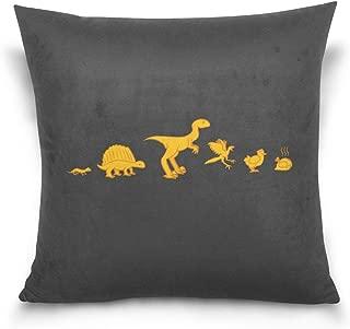 TEVRSTA Evolution of Humorous Dinosaurs Cotton Velvet Soft Decorative Square Pillowcase Cushion Cushion Pillowcase, Home Decoration Sofa Sofa Bed Chair 16 x 16 Inches