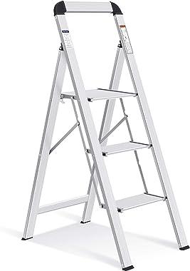 TOOLF 3 Step Ladder, Aluminum Lightweight Folding Step Stool with Utility Handle,3 Anti-Slip Steps,Wide Platform,Great for Yo