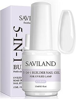 Saviland 5 in 1 Clear Builder Nail Gels - 15ml Quick Building Nail Strengthener Gel, UV/LED Nail Polish Gel for Broken Nai...