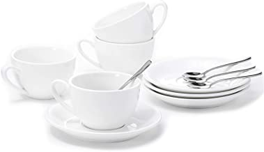 Aozita Porcelain Cappuccino Cups and Saucers with Espresso Spoons - 6 Ounce Espresso Cups for Latte, Cafe Mocha and Tea, Demitasse Cups, Set of 4 (Protective packaging)