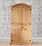 Mews Corona 2 Door Wardrobe Arched Double Robe, Waxed Pine