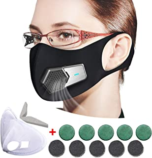Smart Electric Mask, Mini Portable Air Purifier, Anti Pollution Mask Military Grade N95 Washable Respirator with Adjustable Straps for Exhaust Gas/Pollen Allergy / PM2.5/Running/Outdoor Activities