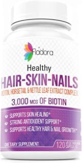 Hair Skin Nails Biotin Supplements - Supports Strong, Healthy Hair and Nail Growth, Promotes Skin Healing, 3000mcg of Biot...