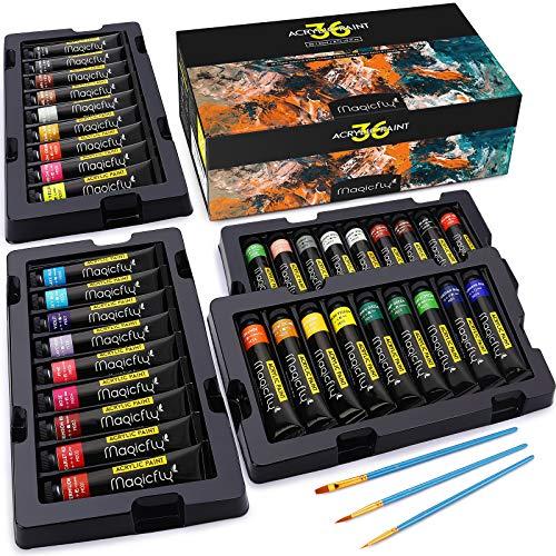 Magicfly Acrylfarben Set mit 36 Tuben, je Acrylfarbe Tubens 22ml, Bastelfarbe mit 3 zusätzlichen Pinseln, ideal Acrylic Paint für Leinwand, Papier, Holz, Stein, Keramik, Modellbau und Künstlerbedarf