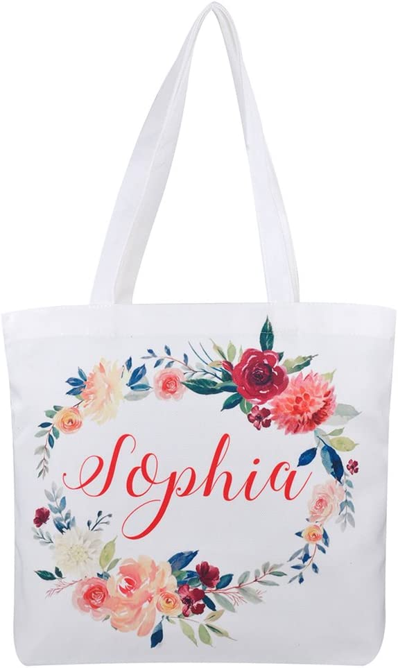 Personalized Bags Birthday Gift Bag Wedding Gift Bag Bachelorette Bridal Party Bags Custom Floral White Gift Bags Floral Handwritten