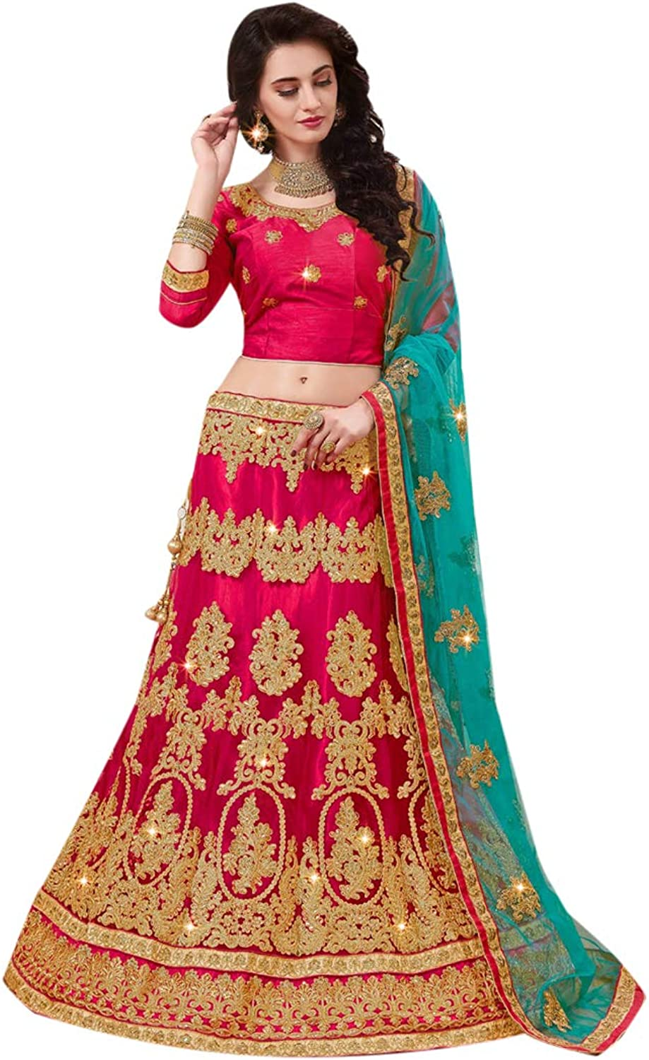 Indian Ethnic Pink Lehenga With Chaniya Choli Designer Collection Evening Cocktail Party Wear 7157
