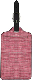 Semtomn Luggage Tag Red Pink Stripes Burlap Quilting Imitation Natural Fibers Hand Suitcase Baggage Label Travel Tag Labels