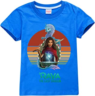 JIACHUN Conjunto de chándal para niños de Raya y el último dragón, camiseta+sombrero+sudadera para niñas, pantalones depor...