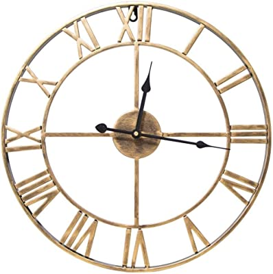 ZLYMX London Wall Clock Metal Skeletal Roman Numerals Non-Ticking Decorative Wall Clock for Cafe