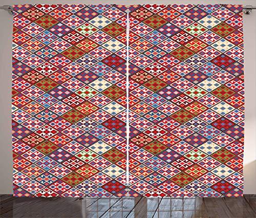ABAKUHAUS Vistoso Cortinas, Alfombra nómada Tribal, Sala de Estar Dormitorio Cortinas Ventana Set de Dos Paños, 280 x 175 cm, Multicolor