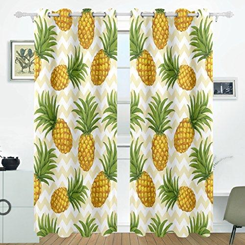 JSTEL Ananas Vorhänge Panels Verdunklung Blackout Tülle Raumteiler für Terrasse Fenster Glas-Schiebetür Tür 139,7x 213,4cm, Set von 2