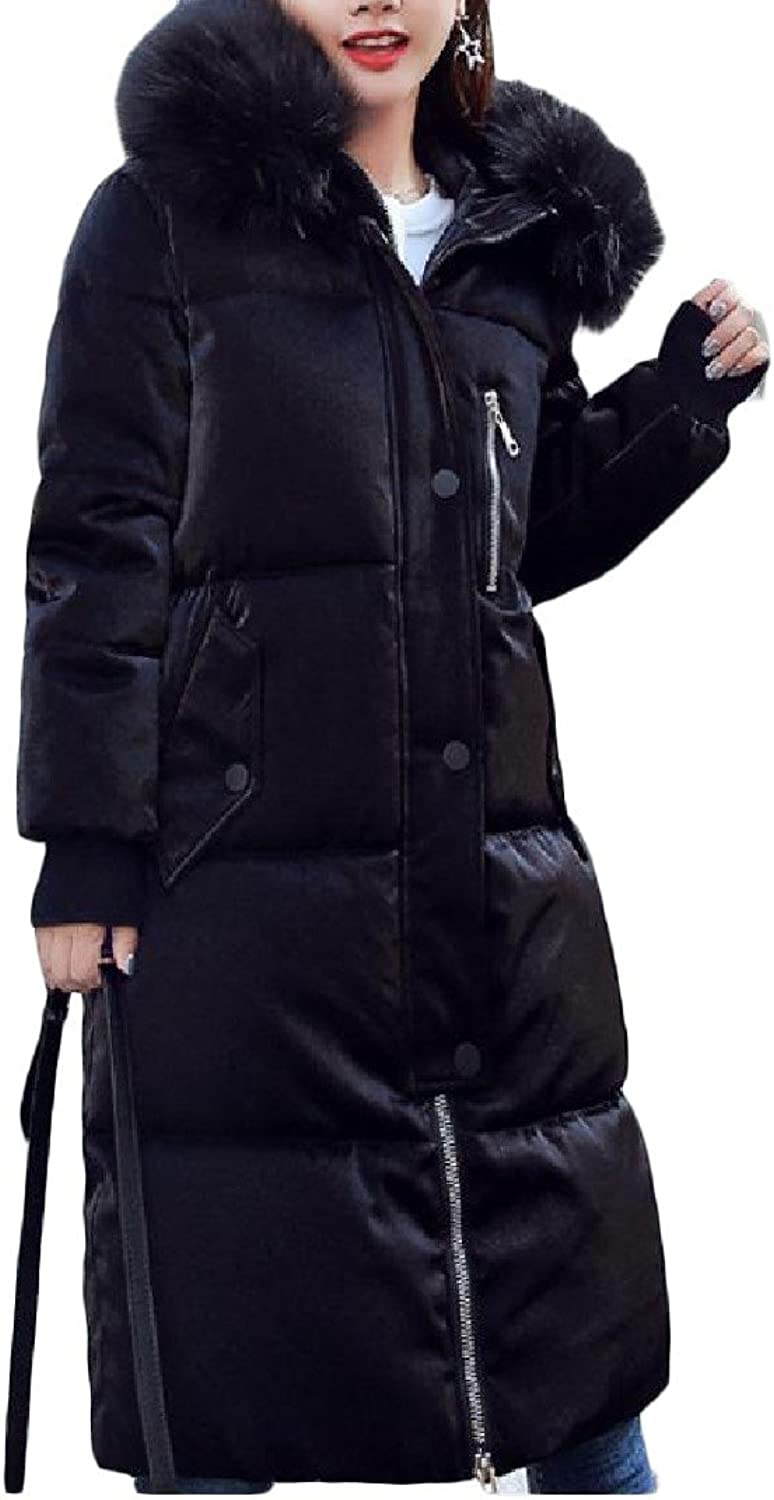 CoolredWomen Thickened faux fur Zip Casual Midlong Cotton Wadded Jacket