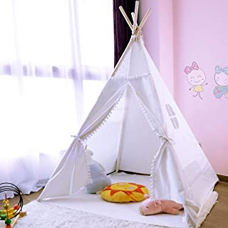 JoyNote Teepee Tent for Kids Indoor Tents with Mat, Inner Pocket, Unique Reinforcement Part - Foldable Play Tent Canvas Tipi Childrens Tents for Girls & Boys