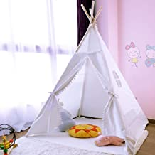 JoyNote Teepee Tent for Kids Foldable Play Tent 4 Wooden Poles Canvas Tipi with Mat, Inner Pocket, Unique Reinforcement Part Toy for Children Playhouse Castle Indoor Outdoor for Girls & Boys