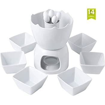 MALACASA Fondue Set, Porcelain Fondue Pots for Chocolate Cheese and Butter, Tea Light Melting Fondue Pot Set with Dipping Bowls and Forks Set of 6 - White