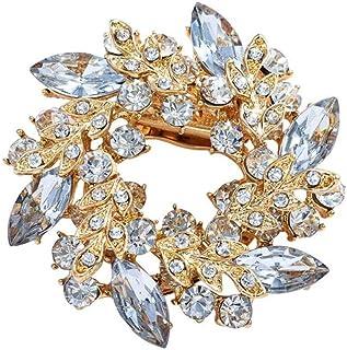 Pulabo - Broche de seda para mujer, diseño de flores, con hebilla de diamantes de imitación, resistente y rentable