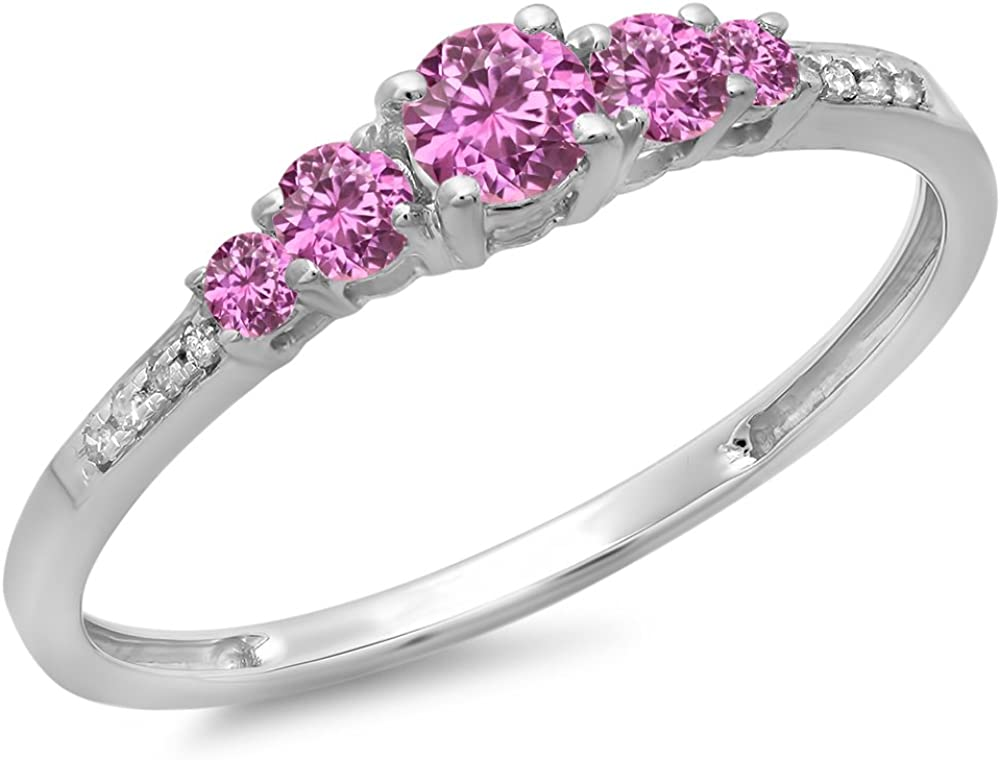 Dazzlingrock Industry No. 1 Collection Ranking TOP6 14K Gold Round Cut Sapphire Pink White