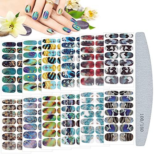 Kalolary Nagelfolie Selbstklebend, 12 Blatt Marmorierung Full Wraps Nagellackaufkleber Nagelkunst Sticker mit Nagelfeile Selbstklebende Maniküre Sticker Schöne Mode DIY Dekoration