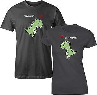 Playeras de pareja novios dinosaurios abrazame kit 2 pzas