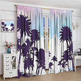 GUUVOR Tropical Blackout Curtain Set Coconut Palm Tree Silhouettes Summer Holiday Watercolors Picture Kindergarten Shading Insulation W96 x L96 Inch Plum Pale Blue Lilac