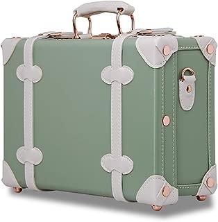 Unitravel Vintage Cute Suitcase 12inch PU Leather Women Handbag Cosmetic case(Matcha Green)