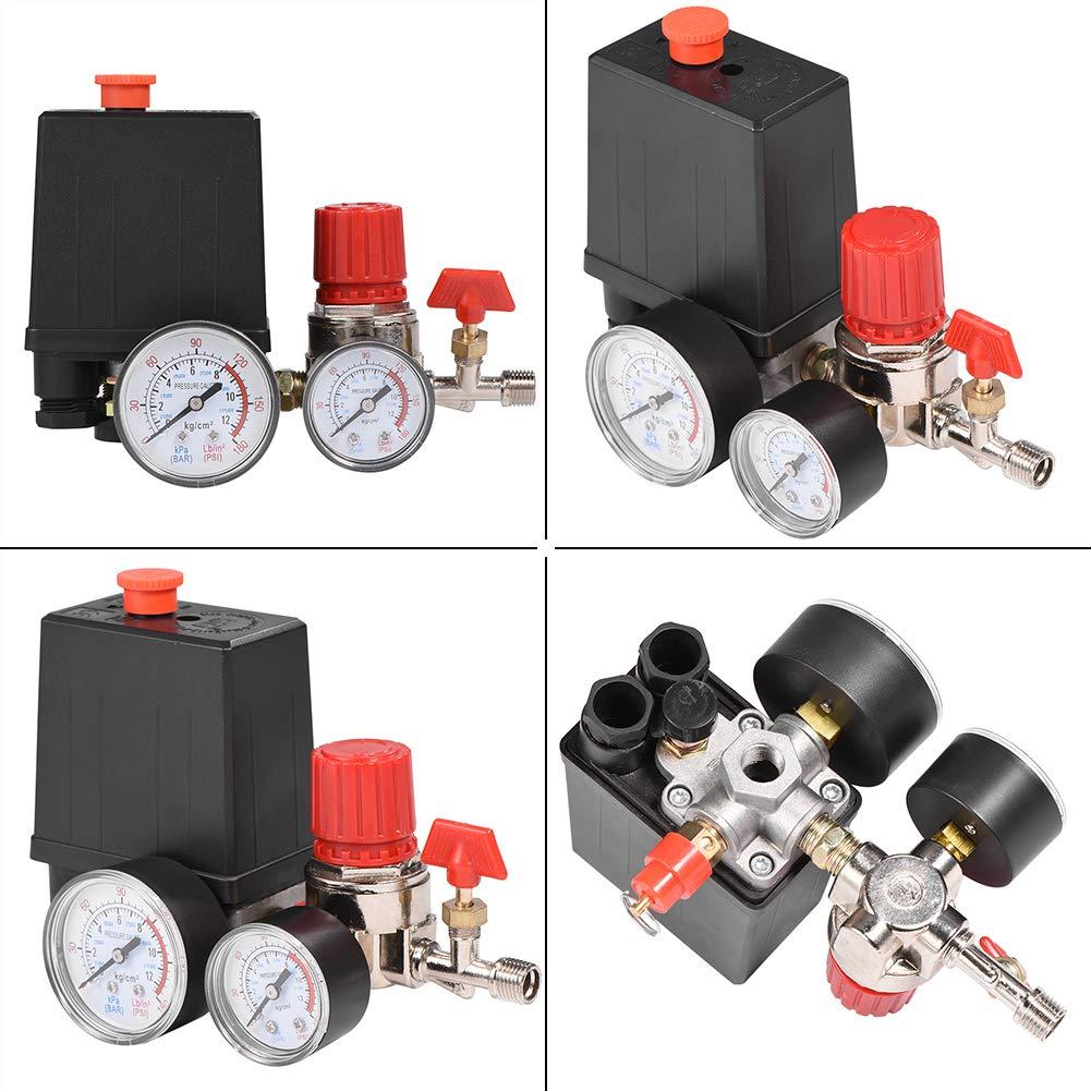 FTVOGUE R/égulateur de Commande de Commutateur de Soupape de Pression de Compresseur dair avec des Jauges pour Une R/éduction Rapide de Pression