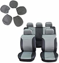 Seat Cover cciyu Universal Car Seat Cushion w/Headrest - 100% Breathable Washable Automotive Seat Covers Replacement Replacement fit for Most Cars(Black on Gray)