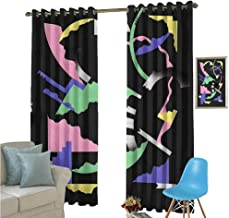 YSING Cloth Curtains,All Over Pattern Bitmap Art Elements Pop,for Room Darkening Panels for Living Room, Bedroom,W84 x L72 Inch
