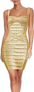 Meilun abito da donna, senza maniche, in rayon, a fascia, aderente