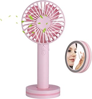 Mini Handheld Fan,Portable Personal Desktop Cooling Fan,Desk Macaron USB Rechargeable Fan with Gust Mode and Magnetic Mirror Base for Office Outdoor Household Traveling (3 Speed,Pink)