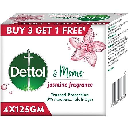 Dettol & Moms Bathing Soap Jasmine, 125g (Buy 3 Get 1 Extra)