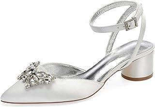 Creativesugar Lady Satin Dress Shoes Block Thick Heels Pumps Pointed Toe Bridal Wedding Shoes
