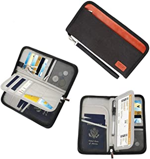 Family Travel Passport Holder Wallet RFID Blocking Document Tickets Organizer with Zipper for Woman & Man (Black)