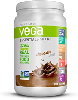 Vega Essentials Protein Powder, Plant Based Protein Powder Plus Vitamins, Chocolate, 21.6 Ounce (17-18 Servings)