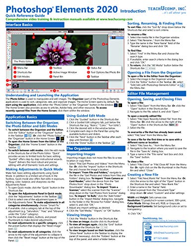 Adobe Photoshop Elements 2020 Introduction Quick Reference Training Tutorial Guide (Cheat Sheet of Instructions, Tips & Shortcuts - Laminated Card)