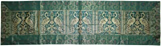 Lalhaveli Rajasthani Hand Art Peacock Work Design Silk Table Runner & Table Cloth 60 x 16 Inch Green Color