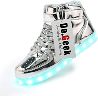 DoGeek Unisex Boy Girl Light up Shoes Red for Children and Adult Led Shoes 7 Colors Lights High Tops