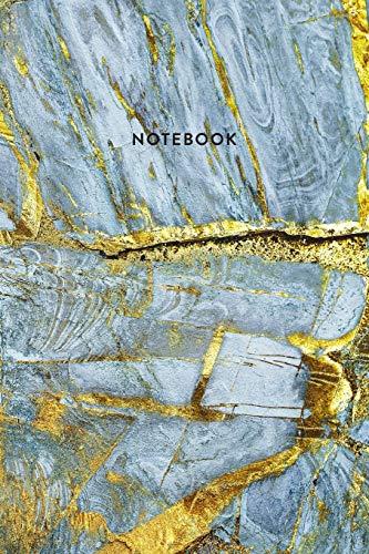 Notebook: Blue & Gold Marble - Notizbuch in moderner Marmor Optik | ca. DIN A5 (6x9\'\'), kariert, 108 Seiten, Blauer Marmor mit Gold | für Notizen, ... Organizer, Kalender, Semesterplaner, Journal