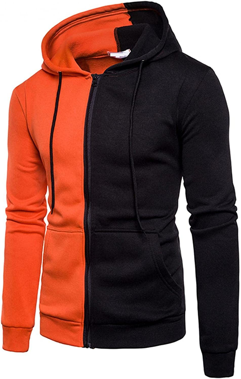 SUIQU Jackets for Men with Hood Autumn Winter Color Block Zipper Drawstring Long Sleeve Fashion Hooded Sweatshirts Coat