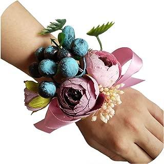 Lady Night Groom Boutonniere Bride Wrist Corsage Hand Wedding Flower Man Suit Party Decoration Fm-01,Taffy Wrist Corsage