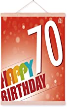 YOLIYANA 70th Birthday Decorations Classic Magnetic Hanging Poster,Vivid Colored Abstract Backdrop Happy Birthday Slogan Image for Party,16''W x 25''L