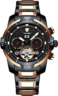 T816A Automatic Mechanical Movement Men Watch Self-Winding Manual Winding Wind-Up Skeleton Wrist Watch 3ATM Waterproof Lum...